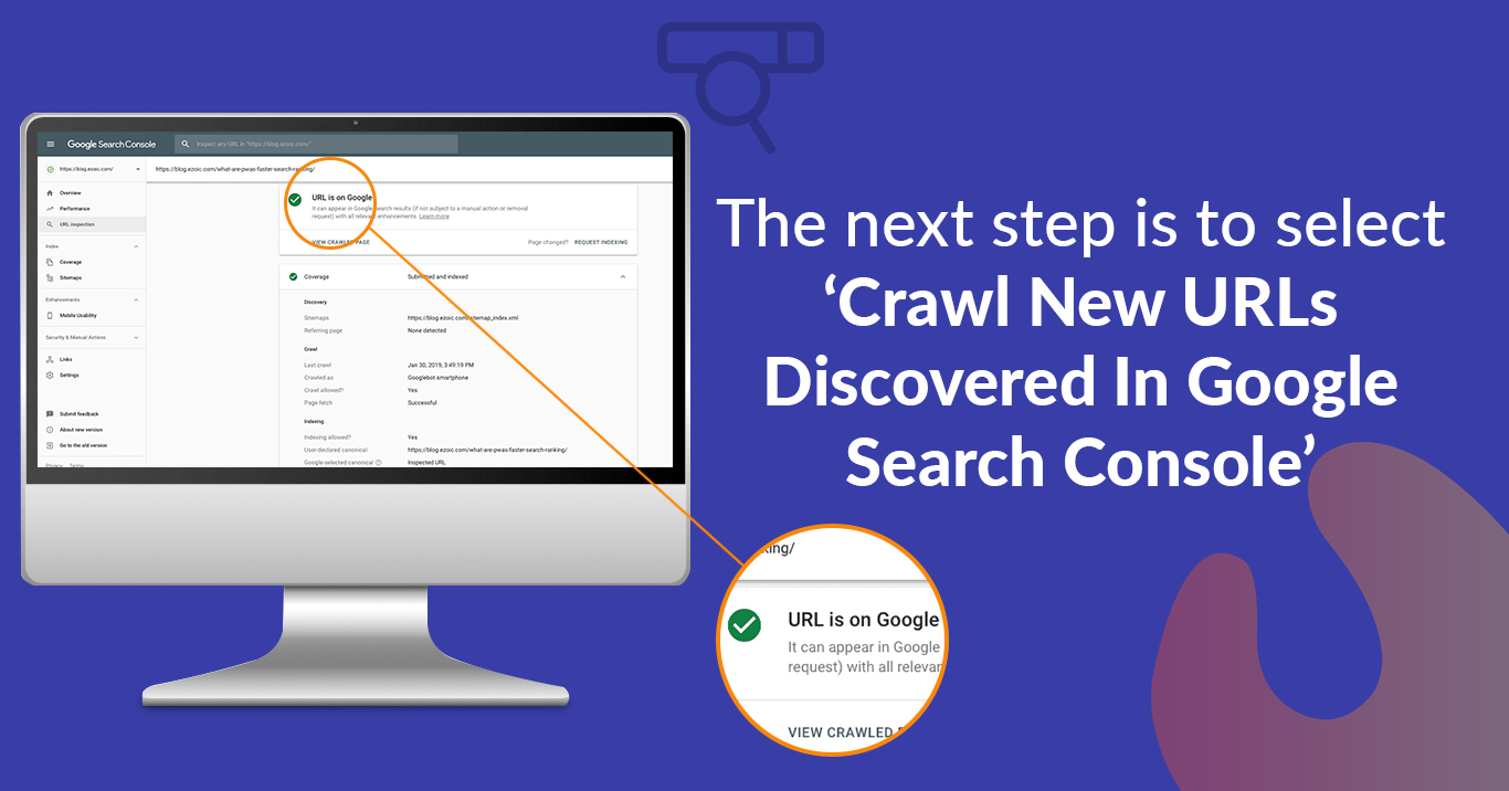 The next step is to select 'Crawl New URLs Discovered In Google Search Console'